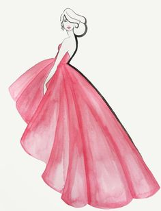 Rose Elegance - Originalaquarell - Modeillustration - Famous Last Words Dress Design Drawing, Dress Design Sketches, Fashion Design Sketchbook, Girl Drawing Sketches, Girly Drawings, Art Drawings Sketches Simple, Dress Drawing, Fashion Design Drawings, Colorful Drawings