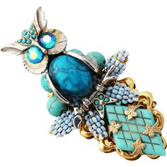 """STANLEY HAGLER Owl Glass Faux Turquoise and Beaded Gilt 3"""" Brooch"""