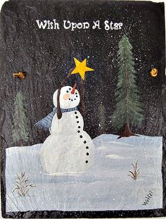 Painted Slate Wish Upon A Star Snowman