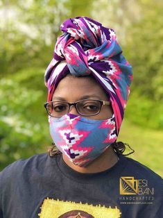 HEADWRAP & FACE MASK set, African Print Face Mask, Ankara Mask, 100% Cotton Reusable Face Mask w/ Filter Pocket, Shaped Mask HWFM2004 Face Mask Set, African Attire, Ear Loop, Head Wraps, Ankara, Handcrafted Jewelry, Filter, Masks, Cotton Fabric