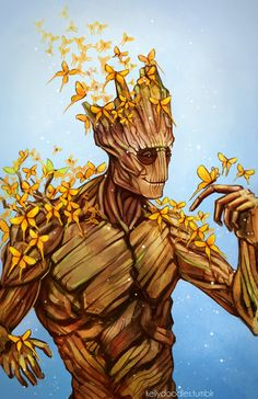 kellydoodles: Finished teh Groot :D May make this into a print but I'll need to adjust it a bit more. Just Groot and a couple of his new friends :)  Ooga-Chaka Ooga-Ooga Ooga-Chaka!!