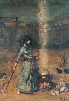 John William Waterhouse: The Magic Circle (study) - 1886 ('a drum! a drum! Macbeth doth come!')