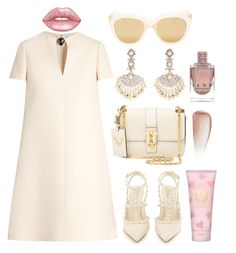 """""""Dinner at the beach"""" by theodor44444 ❤ liked on Polyvore featuring Valentino, Sanjay Kasliwal, Lime Crime, Le Specs, Tory Burch, Yves Saint Laurent, Summer, beach, Tan and holiday"""