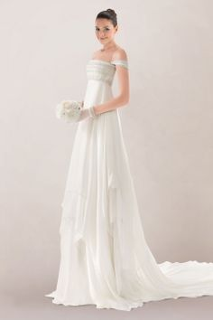 Breezy Chiffon Empire Wedding Dress Highlighted with Bead Work and Chapel Train