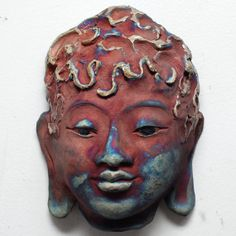 Buddha Face Mask Wall Art in Red and Blue Raku by GoldenWindRaku (Bring peace during project through emotions)