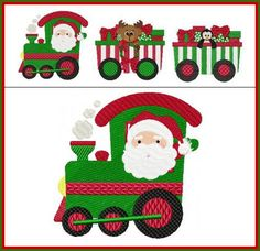 """""""Christmas Train"""" Designed for hoop sizes, treat this 3 design set modularly, and arrange the designs on something fun like a wall hanging or banner! Chug our way on over and get yours today! Christmas Train, Christmas Wood, Christmas Time, Christmas Cards, Christmas Cookies, Embroidery Services, Custom Embroidery, Machine Embroidery Designs, Embroidery Ideas"""