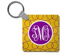 Purple/Yellow Wedding Ring Keychain