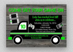 Video Game Birthday Invitation   Gaming by TheTrendyButterfly