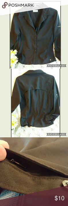 🐈CASUAL/COOL SPORTY COLUMBIA SHIRT This is a active shirt, perfect for hicking or any activity, it has a hidden zipper pocket on the left top.  The back has air pockets. It has one snag that is in photos. Columbia Tops Button Down Shirts