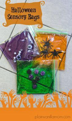 Monster Stew - A Halloween Sensory Bin for Baby - Plain Vanilla Mom Halloween Bebes, Theme Halloween, Toddler Fun, Toddler Crafts, Crafts For Kids, Infant Activities, Activities For Kids, Toddler Halloween Activities, Halloween Crafts For Toddlers