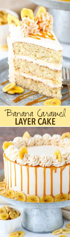 Caramel Banana Layer Cake! Moist banana cake covered with caramel sauce and caramel frosting!