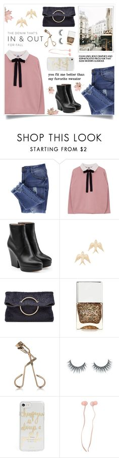"""""""Torn Jeans"""" by linmari ❤ liked on Polyvore featuring Essie, Maison Margiela, Nora Kogan, Victoria Beckham, Nails Inc., Tweezerman, Unicorn Lashes, Sonix and Forever 21"""