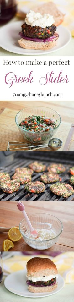 These Greek Sliders are made with non traditional ground beef instead of lamb. They are grilled and then served on a slider roll with a Feta Aioli. Meat Recipes For Dinner, Sunday Recipes, Entree Recipes, Appetizer Recipes, Snack Recipes, Sandwich Recipes, Sweet Dinner Rolls, Greek Appetizers, Beste Burger