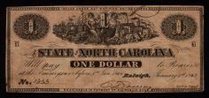 $1 North Carolina CSA Confederate Used Native American History, American Civil War, Confederate States Of America, Civil War Photos, World History, North Carolina, Notes, Ashokan Farewell, Confederate Statues