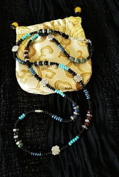 Tribal Native Beaded Red Tiger Eye, Kambaba and Dumortierite Necklace
