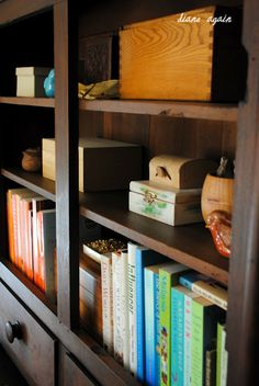 living room. black walnut cupboard. boxes and books.