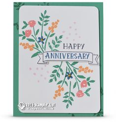 "CARD: Happy Anniversary from the Number of Years | Stampin Up Demonstrator - Tami White——— S U P P L I E S ———  • Number Of Years Photopolymer Stamp Set	140653 • Emerald Envy 8-1/2"" X 11"" Cardstock	141415 • Whisper White 8-1/2X11 Card Stock #100730 • Emerald Envy Classic Stampin' Pad	141396 • Dapper Denim Classic Stampin' Pad	141394 • Large Numbers Framelits Dies	140622 • Flirty Flamingo Classic Stampin' Pad	141397 • Peekaboo Peach Classic Stampin' Pad	141398 • Basic Black Archival Stampin P..."