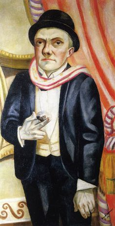 max-beckmann-self-portrait-in-front-of-red-curtain-1923-neue-galerie