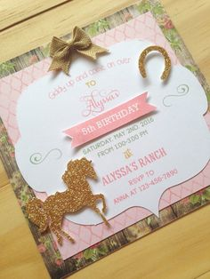 Rustic Cowgirl Invitations A2 LAYERED Pink and Brown