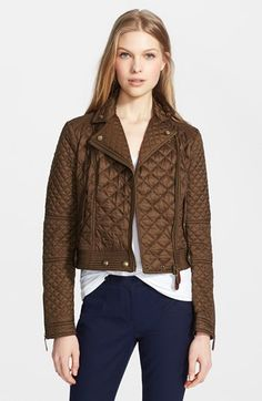 Burberry Brit 'Oakcliffe' Quilted Moto Jacket available at #Nordstrom