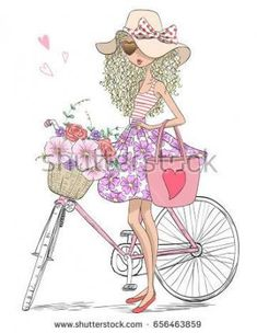64 ideas for flowers girl illustration cute Cute Girls, Little Girls, Bicycle Pictures, Pastel Home Decor, Hipster Girls, Bicycle Art, Girl Standing, Illustration Girl, Kids Prints