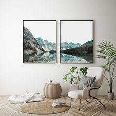 Berg-See-Druck, moderne Wandkunst, Landschaft Set - Murales Pared Exterior Frames On Wall, Framed Wall Art, Poster Frames, Wall Art Sets, Wall Décor, Garden Wall Designs, Landscape Walls, Landscape Wallpaper, Decor Interior Design