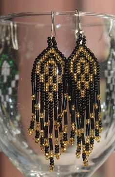 Handcrafted woven bead earrings from Mexico