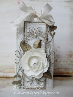 tag with big flower & tiffany frame die Gallery of handicrafts: Name / birthday / other