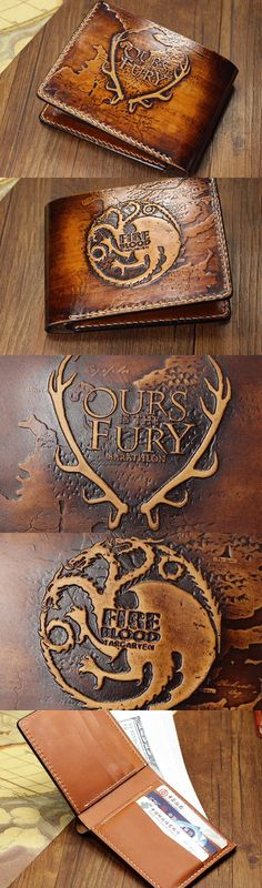 Handmade Game-of-Thrones carved leather custom short wallet for