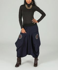 Another great find on #zulily! Navy Medallion Harem Pants #zulilyfinds
