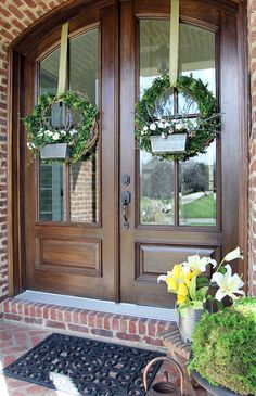 Easy DIY Boxwood Flower Box Wreath for Spring with supplies from This is a sponsored conversation written by me on behalf of Hobby Lobby. The opinions and text are all mine. Front Door Colors, Front Door Decor, Front Porch, Double Front Entry Doors, Double Door Wreaths, Hobby Lobby, Beautiful Front Doors, Door Entryway, Modern House Design