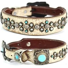 A Western leather dog collar with studs, turquoise stones and Swarovski crystals. For medium to large dogs.