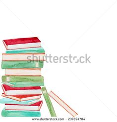Watercolor books background. Education hand drawn illustration in vector - stock vector