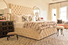 Sally Wheat Interiors Master bedroom, tufted bed, pattern carpet, fur throw. Black, white, gold and blush. Dorothy Draper chests