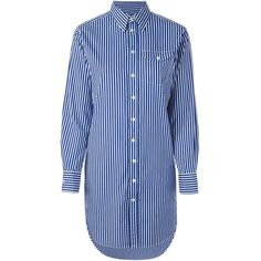 Polo Ralph Lauren Striped Shirt Dress ($117) ❤ liked on Polyvore featuring dresses, shirts, tops, robes, white, white striped dress, white dress, white stripe dress, white cotton dress and white day dress