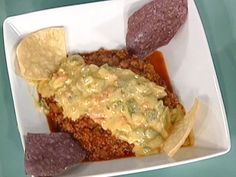 Chili con Carne and Chili con Queso with Tortilla Chips from Emeril Lagasse