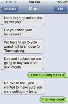 Funny text message from parents. My parents would do this in a heart beat!