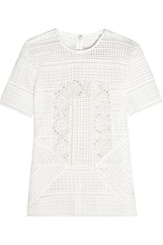 SELF-PORTRAIT Sequined Guipure Lace Top. #self-portrait #cloth #top