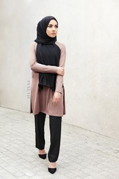 """INAYAH   THE AALIYAH EDIT: """"There is power to modesty"""". - Mushroom Cotton Blend Top + Black Straight Leg Trousers + Black Soft Crepe Hijab www.inayah.co"""
