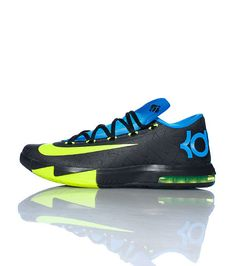 NIKE Kevin Durant Low top mens sneaker Lace up closure Volt colored NIKE swoosh on side Air bubble sole for comfort Mesh for breathability