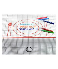 Doodle Tablecloth. You can draw while you eat then wash it out!