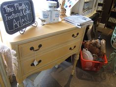 An adorable side cabinet finished in Arles Chalk Paint® decorative paint by Annie Sloan | By Anoka, MN stockist Nic Nac Paddywac's