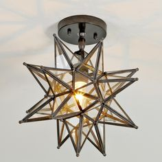 Moravian Star Ceiling Light shades of light. Love that this is clear glass, but still pricey for me Star Lights On Ceiling, Ceiling Light Shades, Lighting Shades, Moravian Star Light, Chandeliers, Rm 1, Modern Ceiling, Do It Yourself Home, Shops