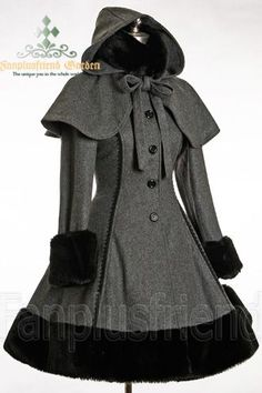 awesome Classic Gothic Lolita: Heavy Wool & Fur Coat with Hood Cape... by http://www.polyvorebydana.us/gothic-fashion/classic-gothic-lolita-heavy-wool-fur-coat-with-hood-cape/