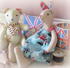 the bunny fitted the theme with her red white and blue liberty print ears and her dress made from cool britannia fabric by benartex from a few years ago..........you can now find the sugar bunny pattern at sew and so. Helen Philipps