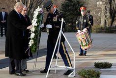 President Trump hangs wreath at Arlington.  1/19/17