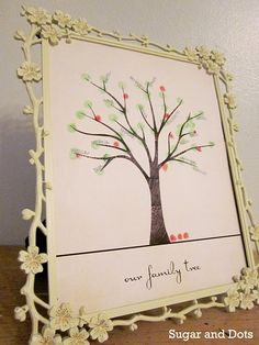 Great gift idea. Fingerprint family tree with template provided for you!