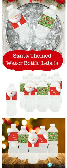 Ho! Ho! Ho!  Santa Inspired Water Bottle Labels in 2 Coordinating Patterns.  Perfect for Christmas Parties!