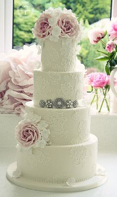 Brush embroidery wedding cake | Flickr - Photo Sharing!