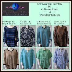 """Brand NEW Inventory by Coldwater Creek at Urban Thick -Your Online Consignment Store For Plus Size Women We sell cute #curvy NEW and Pre-owned clothes to women with #curves. """"Let Your Curves Be Heard!"""""""